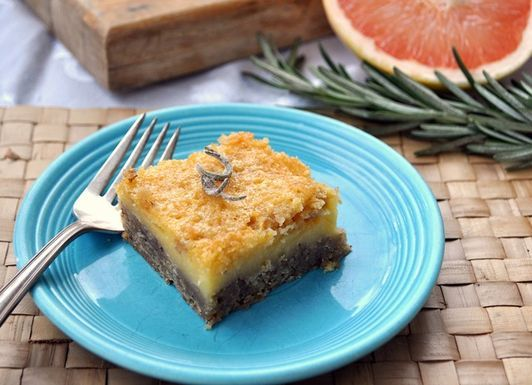 Grapefruit Curd Squares with Candied Rosemary