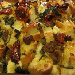 Savory Sausage, Greens and Slow Roasted Tomato Bread Pudding