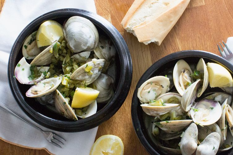 Clams Steamed with Garlic Scapes