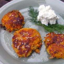 Sweet potato pancake with chevre and dill