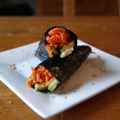 Shredded Carrot-Ginger Salad + Avocado Wrap