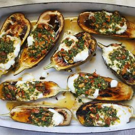 Roasted Eggplant with Cilantro-Almond Salsa