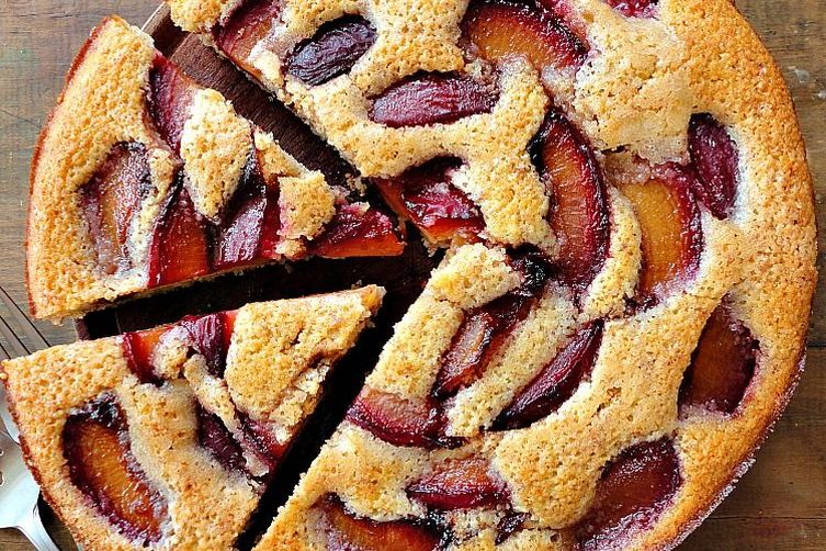 Wine Poached Plum Almond Cake