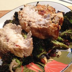 Spiced Yogurt Baked Chicken on Roasted Broccoli