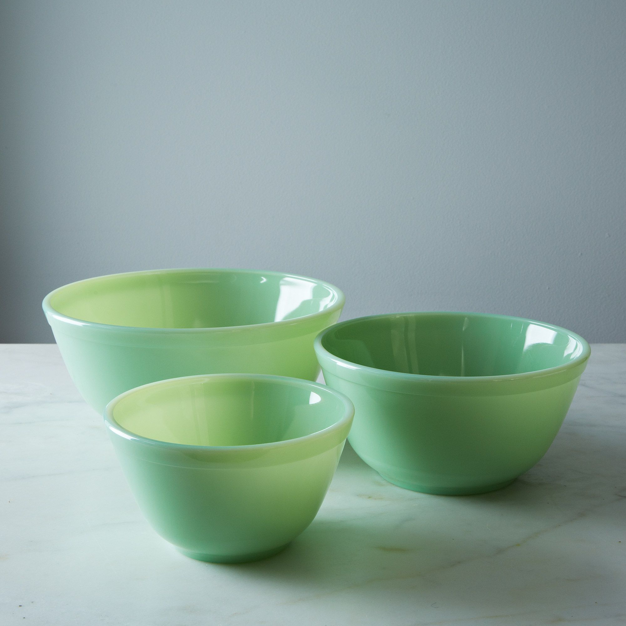 Jadeite Glass 3-Piece Mixing Bowl Set - Jadeite