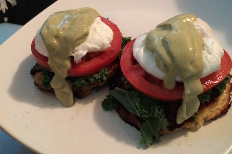 Spaghetti Squash Eggs Benedict With Avocado-Dijon Hollandaise