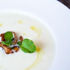 cauliflower shiitake soup with truffle oil