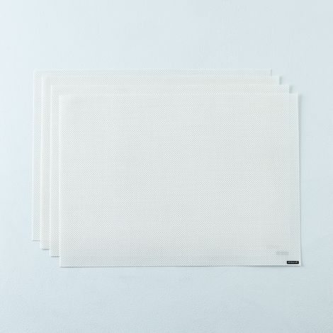 Mini Basketweave White Placemats (Set of 4)