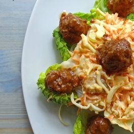 Hoisin-glazed meatballs with spicy coleslaw