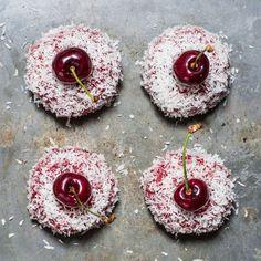 Cherry and coconut mini cakes