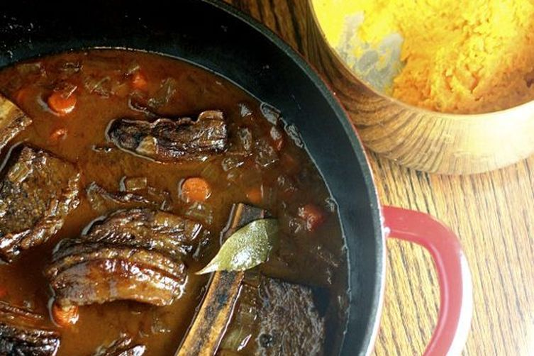 Beer-Braised Short Ribs with Whipped Sweet Potatoes