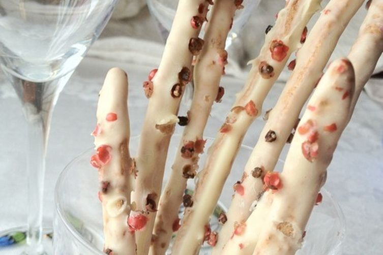 White Chocolate Whole-Wheat Sticks with Pink Peppercorns
