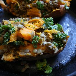 Twice Baked Lentil Stuffed Sweet Potatoes