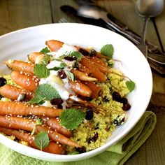 Roasted Carrots with Cauliflower Couscous