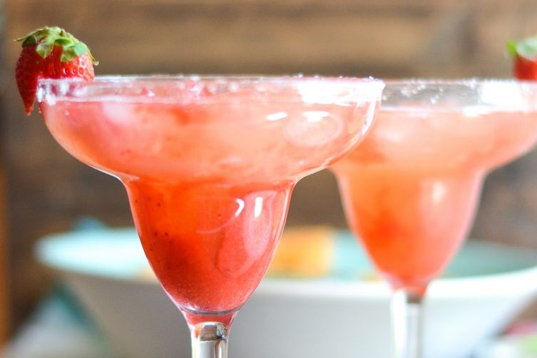 Classic Margaritas with Strawberry Rhubarb Puree
