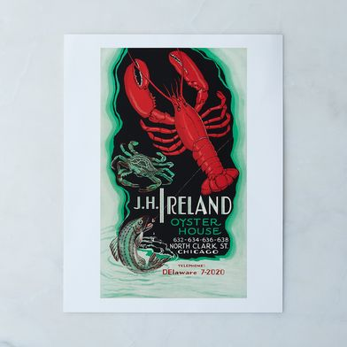 Vintage Menu Print: J.H. Ireland, Chicago
