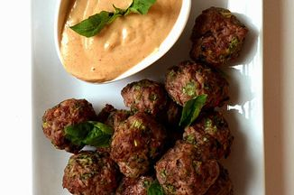 Thai meatball poppers with creamy peanut dipping sauce for Angels thai cuisine olympia wa