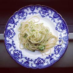 Star Anise & Scallion Spaghetti with Basil & Almond Parmesan