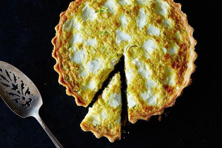 Corn, Spring Onion, and Ricotta Tart