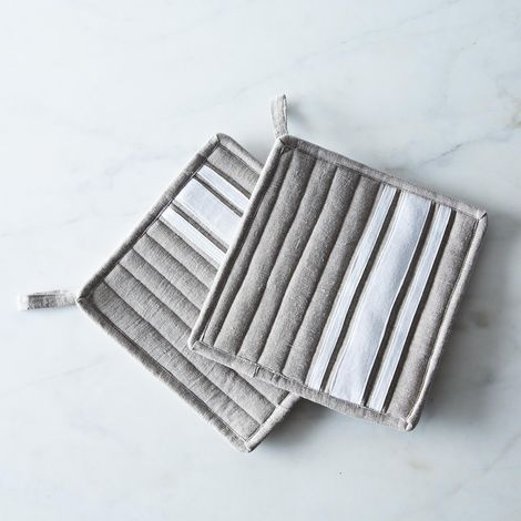 Striped Linen Potholders (Set of 2)