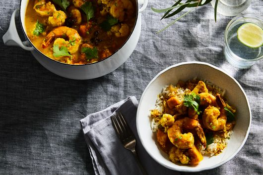 Indian Shrimp Curry with Cauliflower and Pumpkin