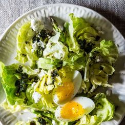 Spring Salad with Soft-Boiled Eggs + Cocoa Brownies