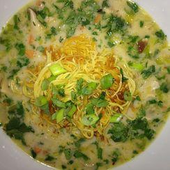 Creamy Coconut Shrimp & Kaffir Lime Soup w/ Pan Fried Noodles