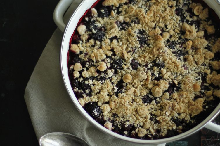 Crumble with picked blackberries
