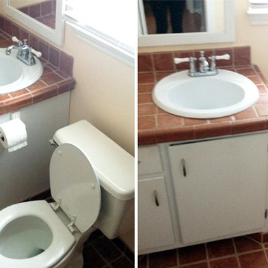 "A DIY Tiny Bathroom Renovation: Before, ""Almost-After"" & Tips"