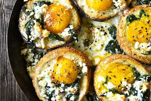 Baked za'atar egg buns with spinach and feta