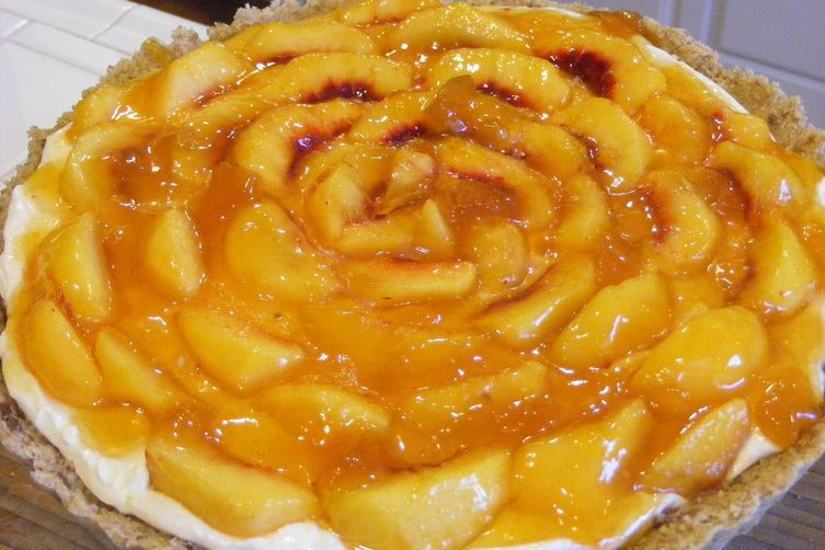Creamy Fresh Peach Pie (or Tart) in a Nut Crust with Hazelnut Spread