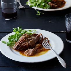 Cider-Braised Pork Shoulder with Caramelized Onion and Apple Confit