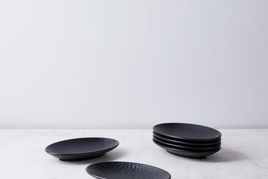 Melamine Cobbled Charcoal Plates (Set of 6)