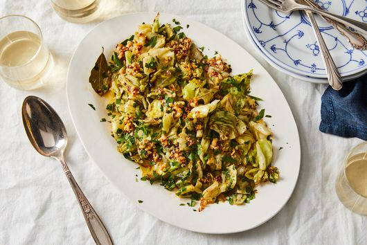 Lemony Cabbage Shawarma With Garlic-Chile Oil & Pine Nuts