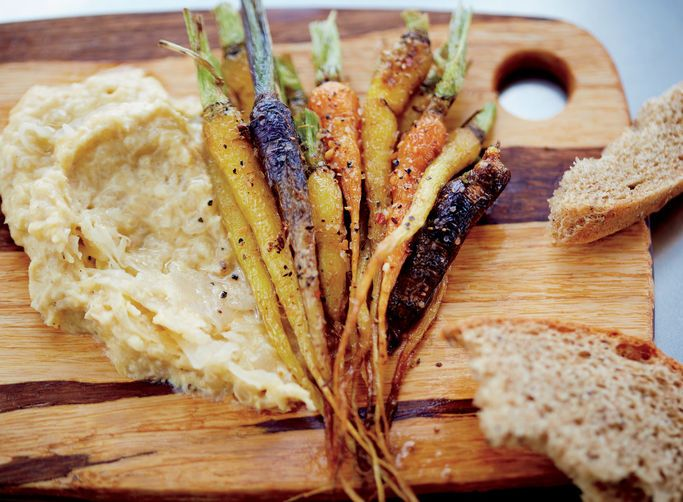 Spiced Little Carrots with Chickpea Sauerkraut Purée
