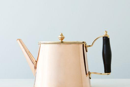 Vintage Copper Tea Pot with Ebony Handle, Early 19th Century