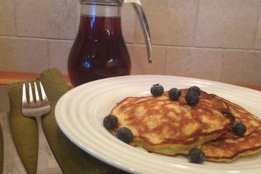 Banana Blueberry Protein Pancakes