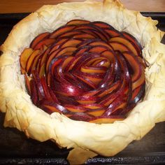 Plum almond custard in phyllo pastry crust