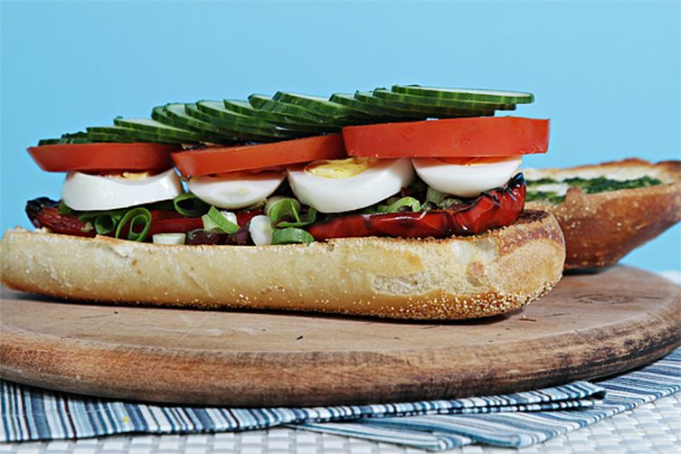 Pan bagnat with grilled peppers and basil vinaigrette