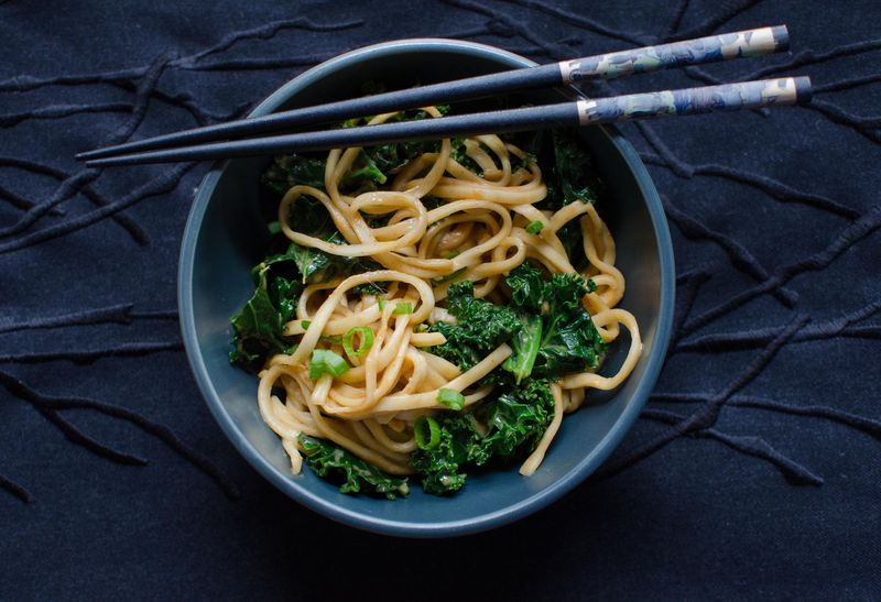 Spicy, Peanutty Udon with Kale