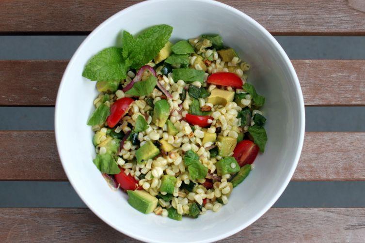 Charred Corn and Avocado Salad with Lime, Chili, and Tomato