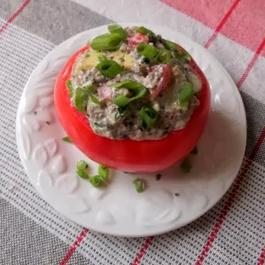 Tomatoes Stuffed with Mushrooms and Roquefort Cheese