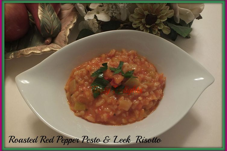 Roasted Red Pepper Pesto & Leek Risotto