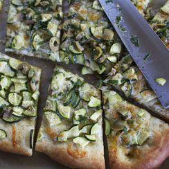 Zucchini Pizza with Olive Vinaigrette