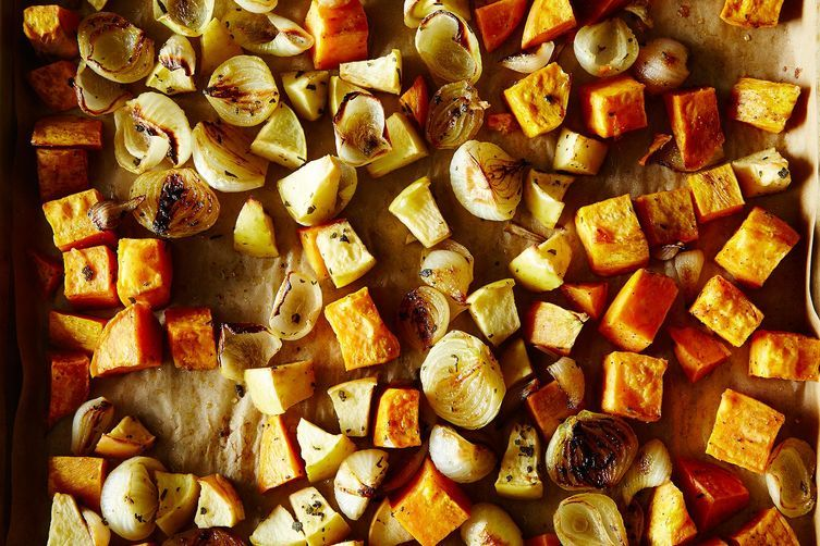 Roasted Sweet Potatoes with Apples and Onions