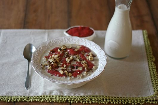Brown Rice Porridge With Pecans & Strawberry Rhubarb Puree