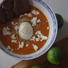 Sweet potato soup with chili, lime and a prefect soft boiled egg