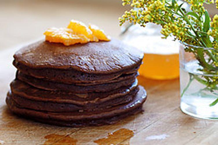 Chocolate Cardamom Pancakes with Orange Glaze