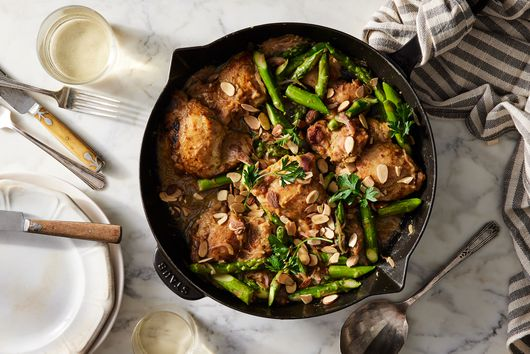 Chicken & Asparagus Almondine With Miso Butter