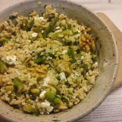Bulgur Salad with Asparagus, Feta and Toasted Walnuts